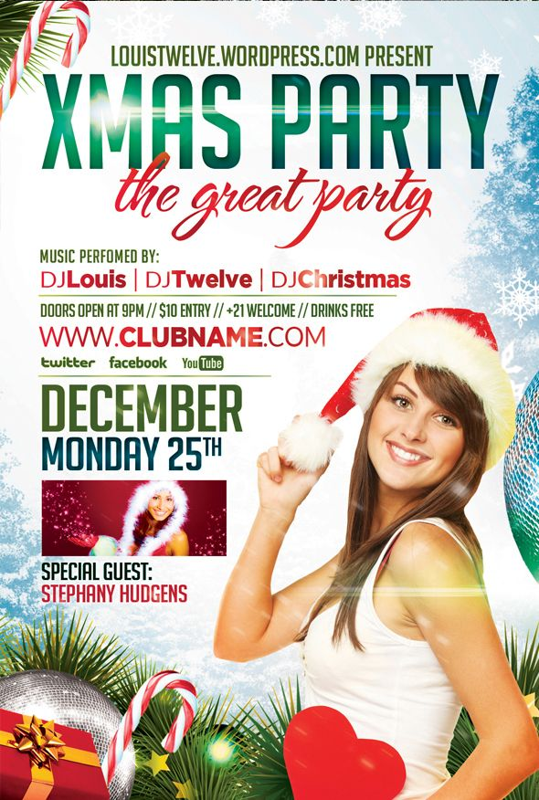 Free Xmas Party Flyer Template and Facebook Timeline Cover - http - christmas flyer template
