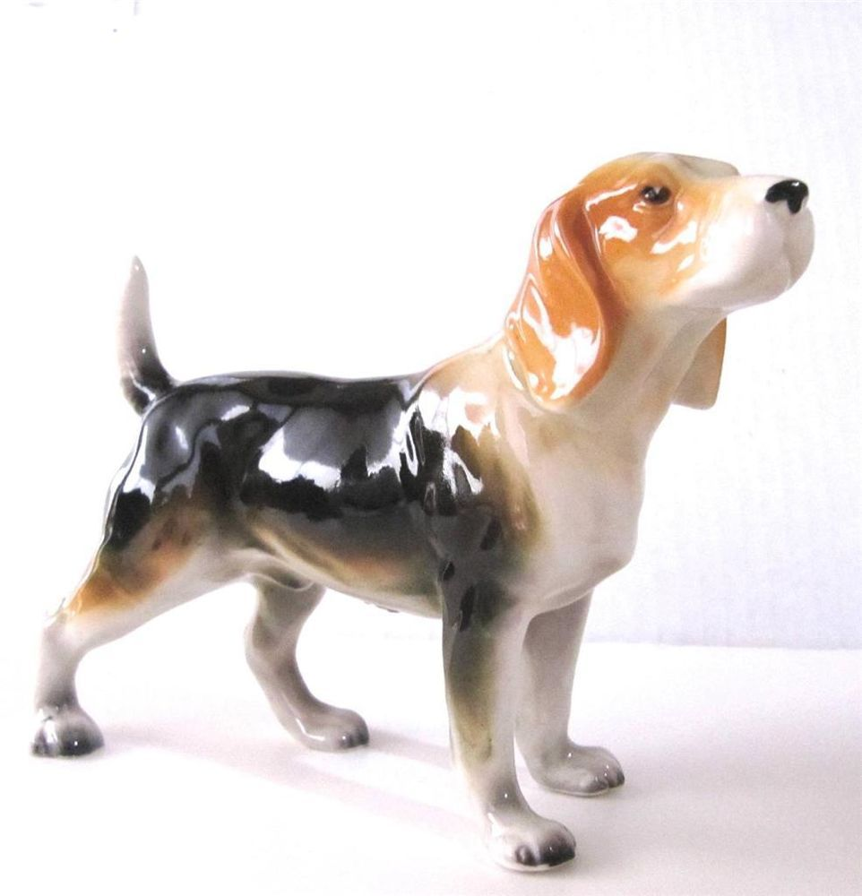Beagle Dog Figurine Ceramic Glazed Large 5 Tall X 8 Long Vintage