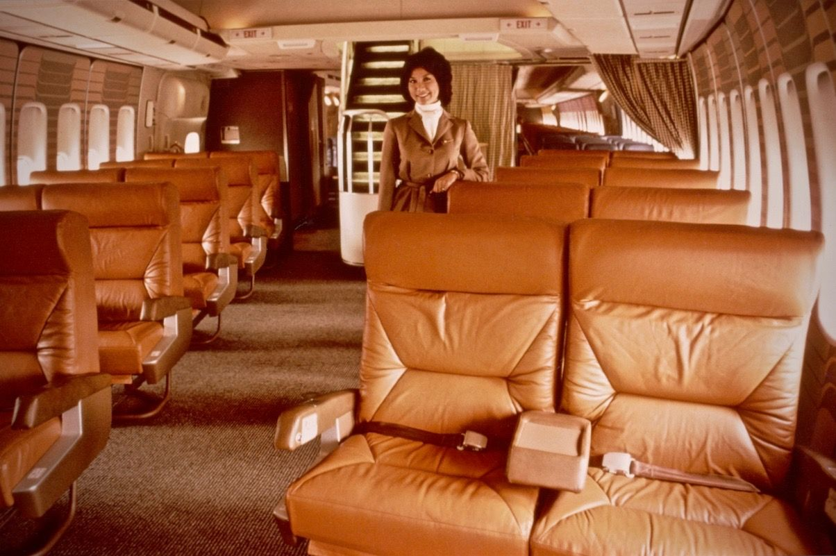 Braniff 747 first class cabin airline interiors