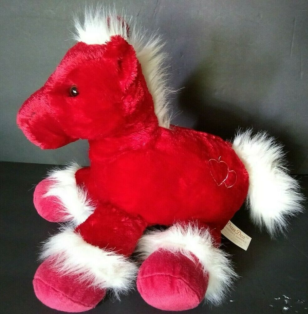 Dan Dee Red Horse Plush Soft Toy Stuffed Hearts Valentines