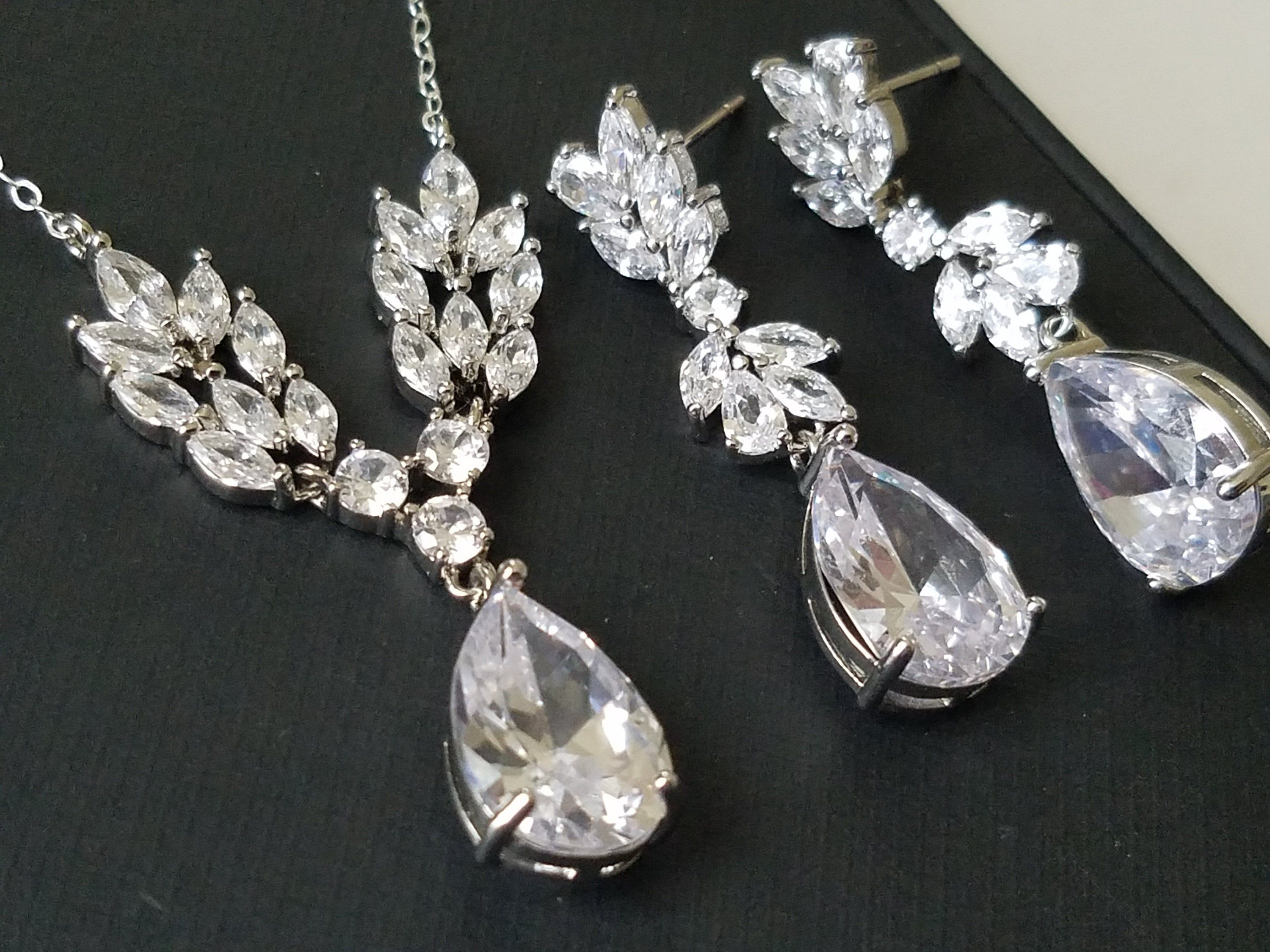 Crystal Bridal Earrings and Necklace Silver Teardrop Wedding Jewelry for Brides Statement Bridal Jewelry Set Cubic Zirconia