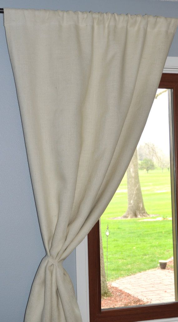 White Burlap Curtain Panel With Unbleached Cotton Lining
