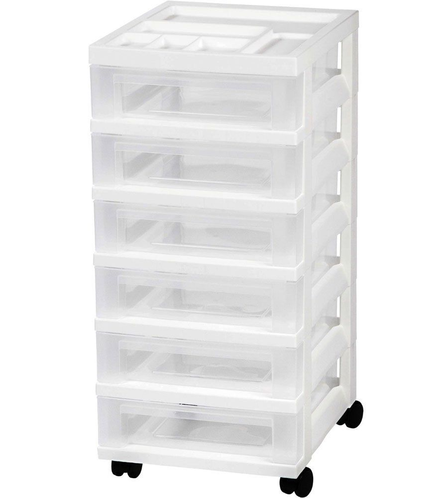 Iris 6 Drawer Storage Cart With Organizer White You Can Find More Details By Visiting Th Plastic Storage Drawers Craft Storage Drawers Rolling Storage Cart