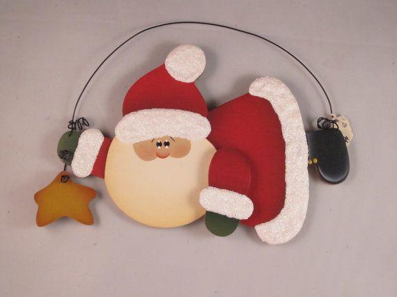 Santa Christmas Ornament Hand Painted Santa holding by KCCrafts4U, $10.00