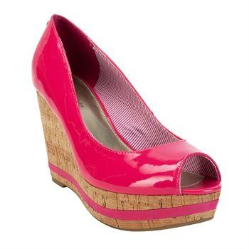 Tommy Hilfiger Sade II Open Toe Patent Wedge #VonMaur #TommyHilfiger #Pink #Bright