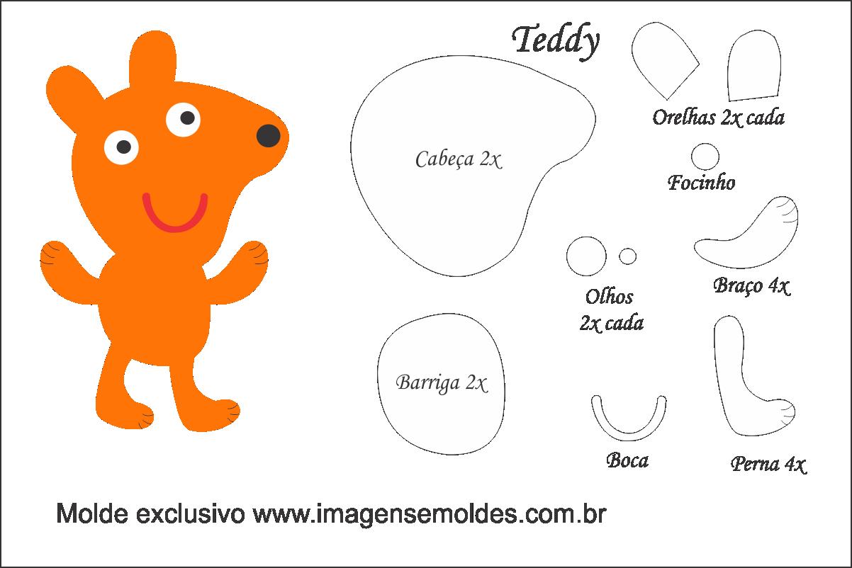 Molde Peppa Pig - Teddy - Molde para Feltro - EVA e Artesanato ...