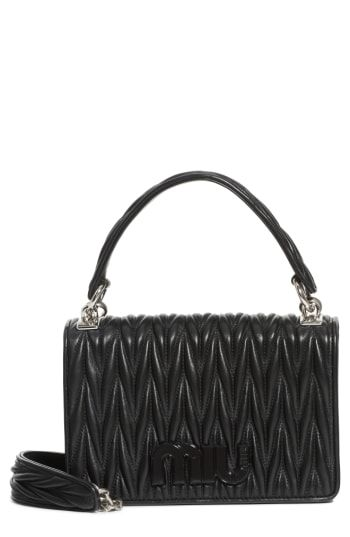 5dffaee49c9 Miu Miu Matelasse Quilted Lambskin Leather Top Handle Bag - Black ...