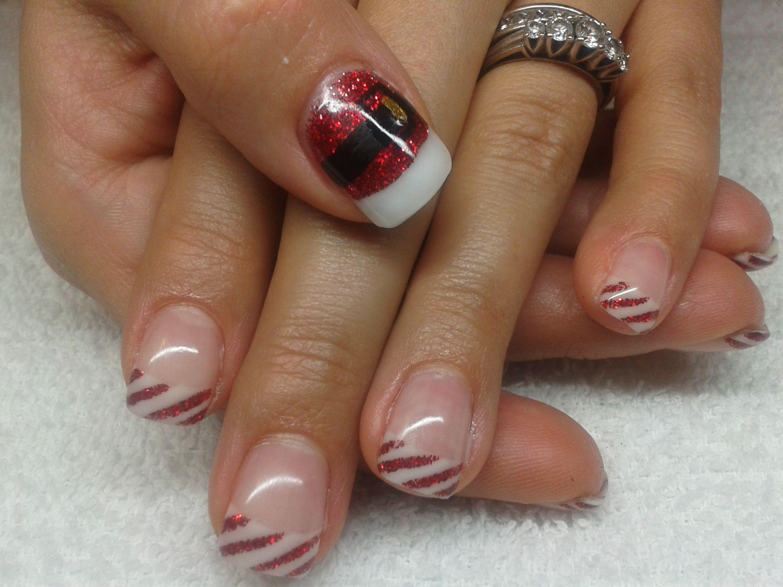 candycane & santa's belt nails