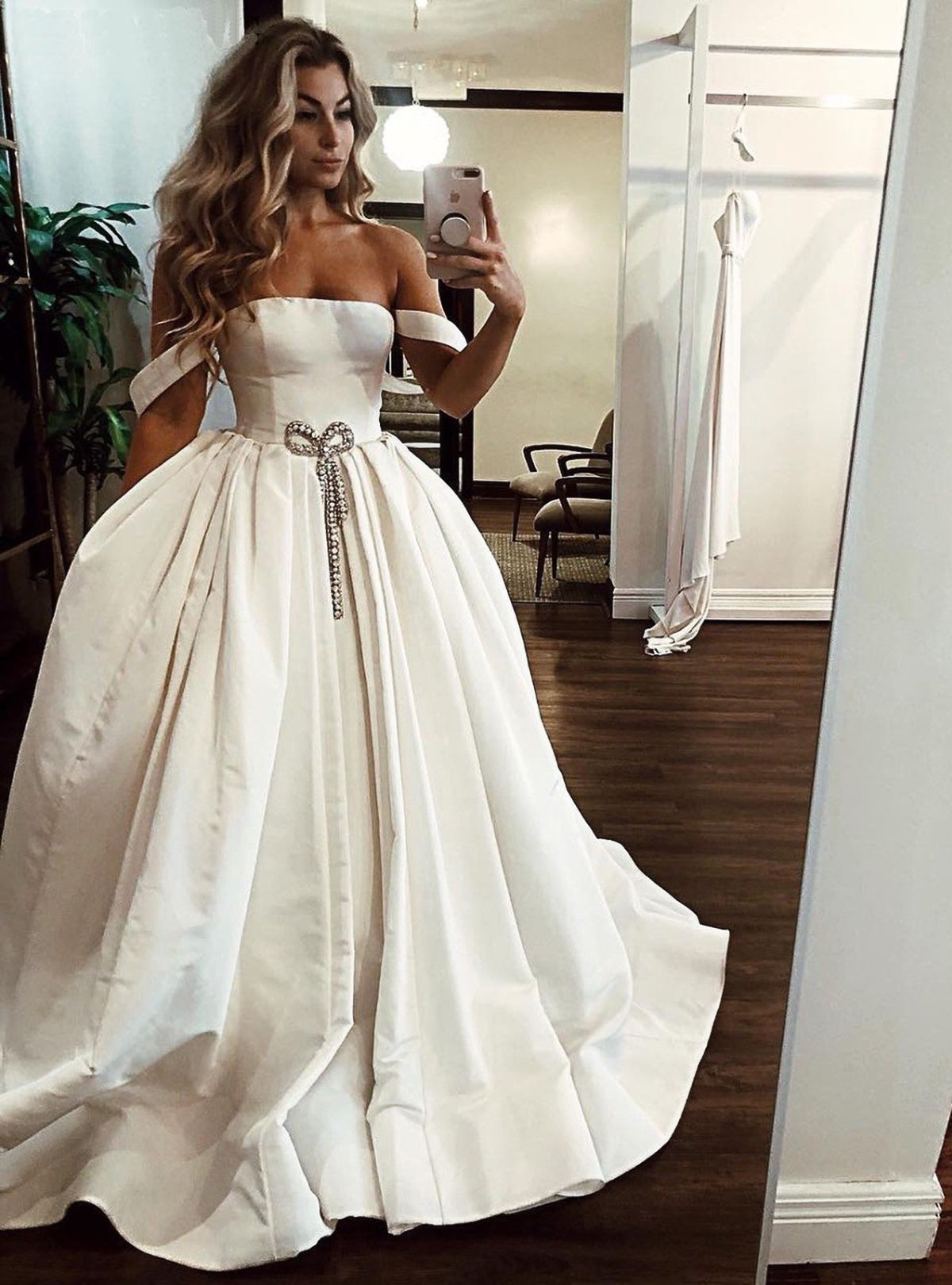 White Satin Off Shoulder Long Senior Prom Dress, Evening
