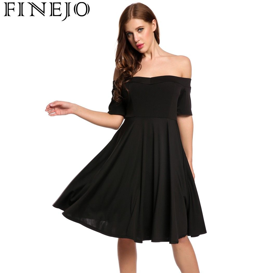 Click to buy ucuc finejo women vintage retro dresses off shoulder