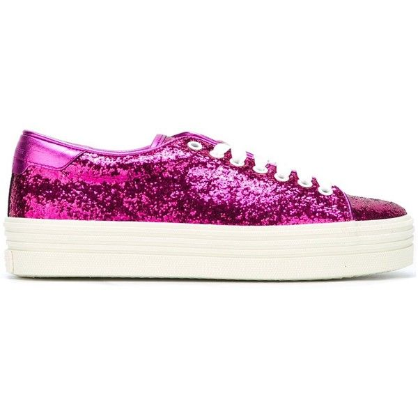 Saint Laurent 'Court Classic' platform sneakers (€455) ❤ liked on Polyvore featuring shoes, sneakers, pink, leather lace up sneakers, pink glitter sneakers, pink leather shoes, leather platform shoes and lace up shoes