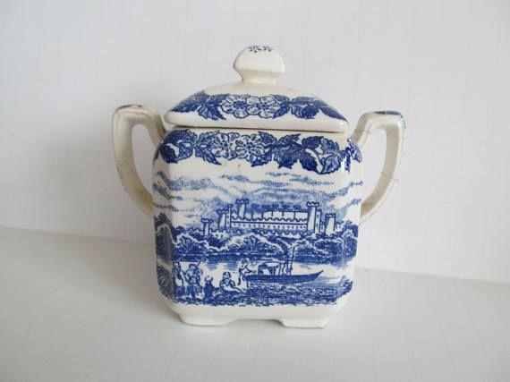 blue and white sugar bowl enoch sugar bowl blue and white decor blue castle china - Blue Castle Decor