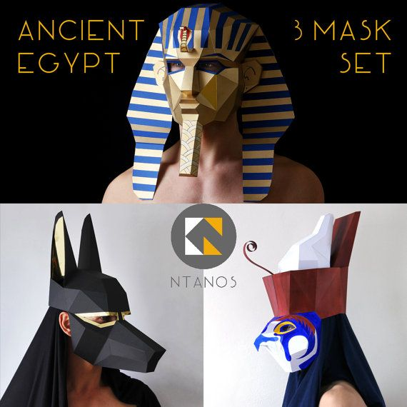 Ancient egypt mask set pharaoh anubis and horus for Egyptian masks templates