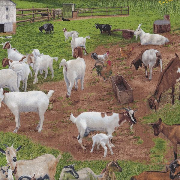 Brown White Goats Farm Animal Grass Quilting Fabric From Sarah J Home Decor.  Available By