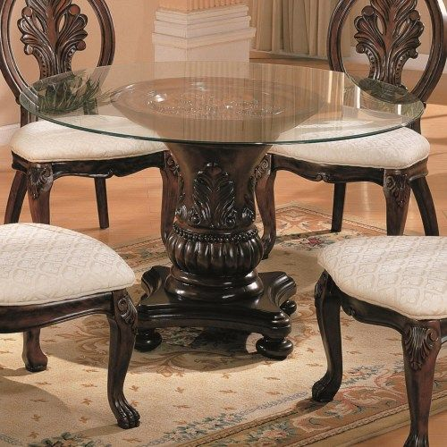Coaster Tabitha Traditional Round Dining Table With Glass Top Entrancing Coaster Dining Room Furniture Design Decoration