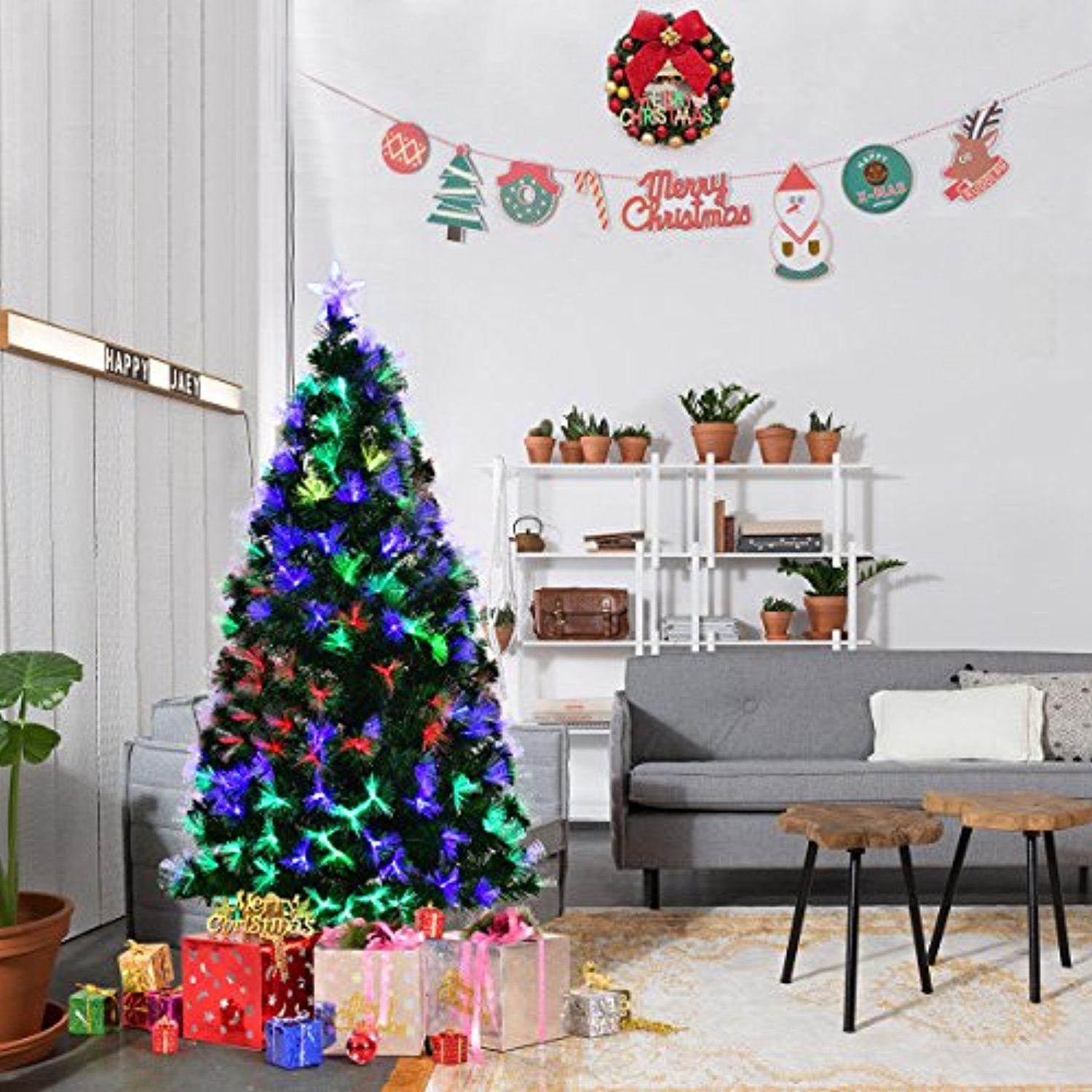Goplus 5 Ft Artificial Christmas Tree Pre Lit Optical Fiber Tree 2 Flash Modes W Ul Certified Pre Lit Christmas Tree Real Christmas Tree Pencil Christmas Tree