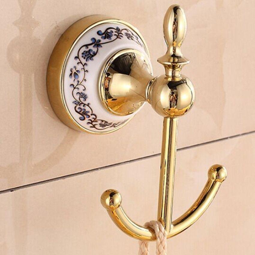 Gold Fashion Hooks Bathroom Towel Clothes Hooks Kitchen Hooks Bag Cap Hooks  Blue And White Ceramic Decorate Hardware Hooks