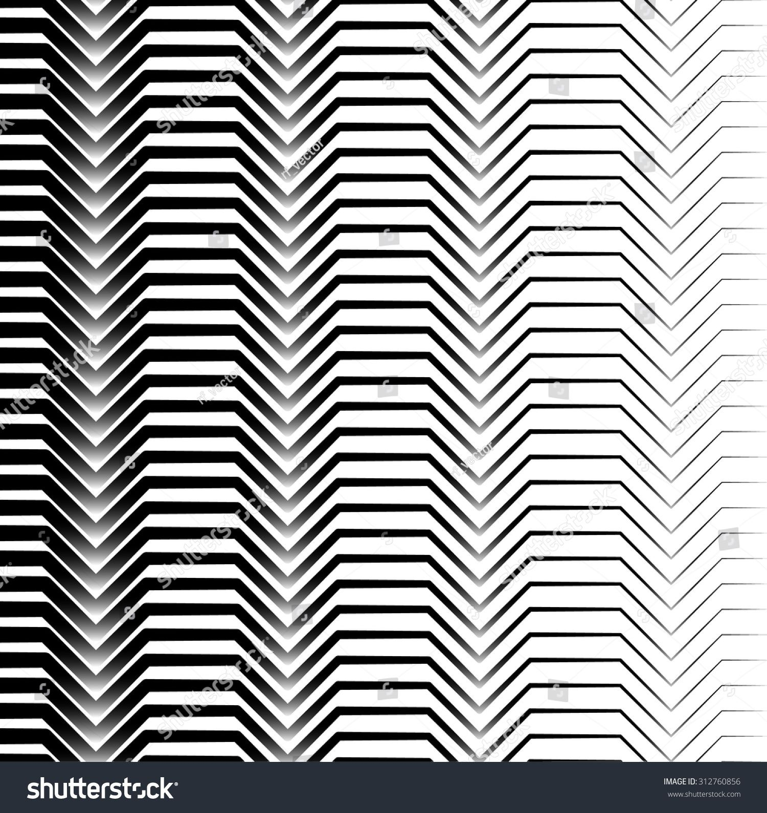 Black And White Horizontal Zigzag Lines Abstract Pattern