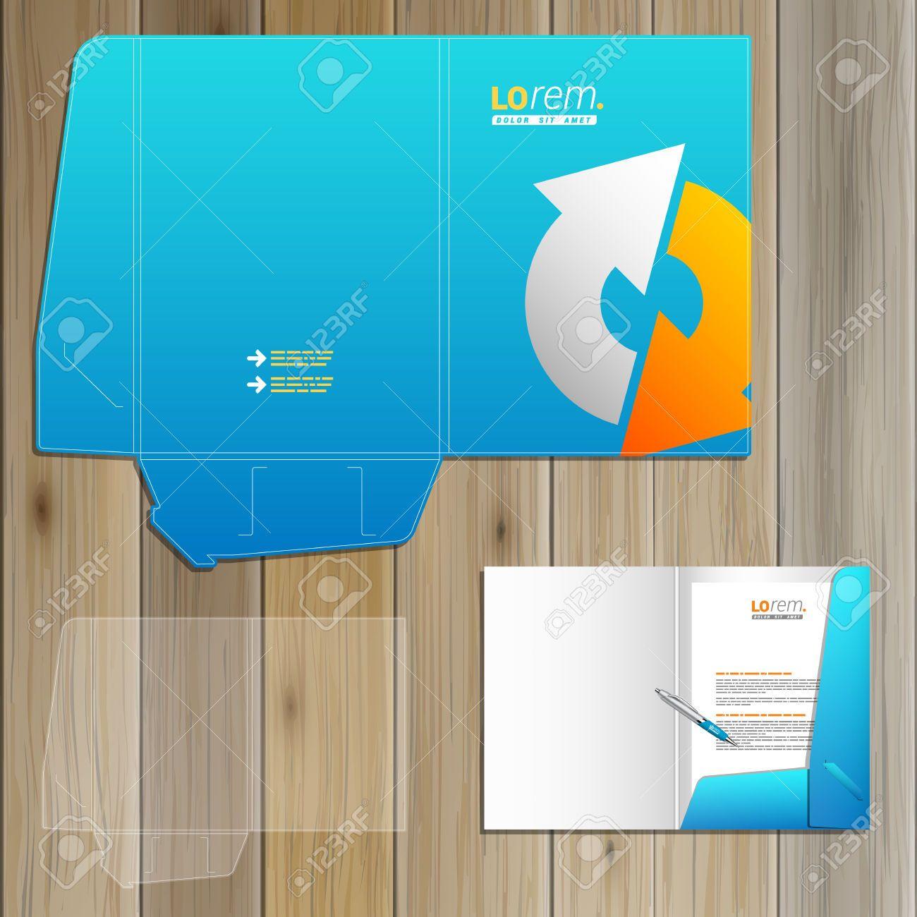 Diseño De La Plantilla Carpeta Azul De La Identidad Corporativa Con ...