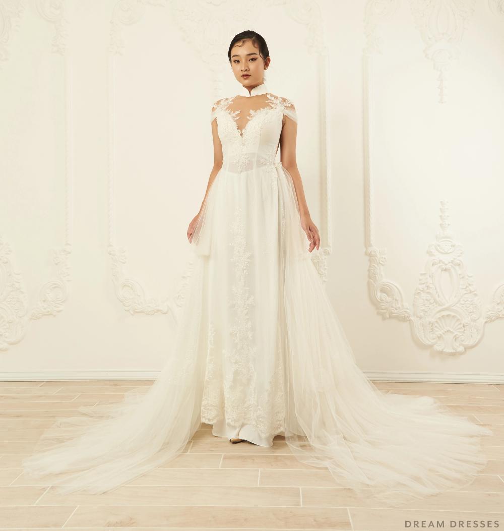 White Bridal Ao Dai Modern Vietnamese Wedding Dress (