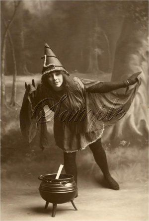 Vintage Witch Halloween Wicca Costume Canvas Art Large