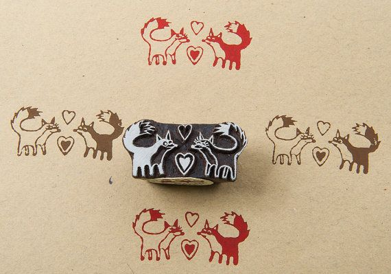 Fox in love, wood block stamp