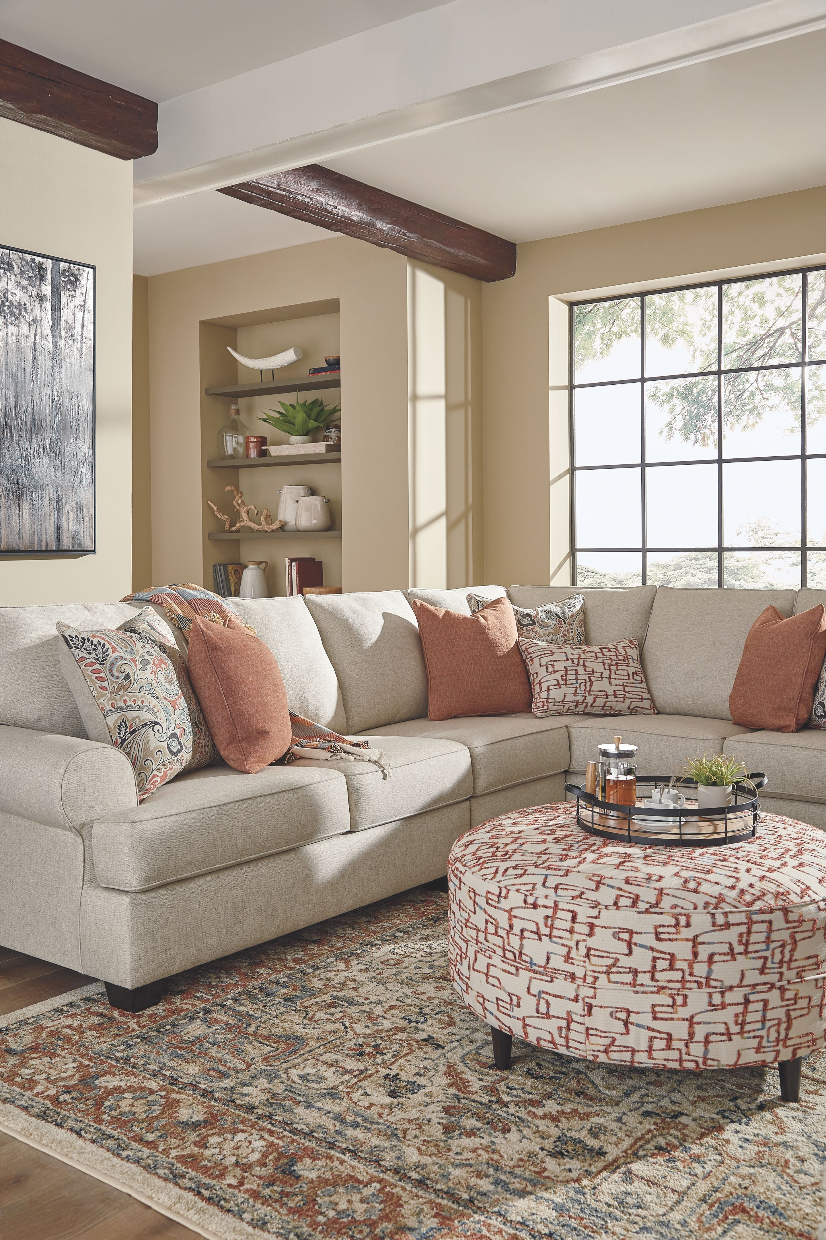 Amici Oversized Accent Ottoman Round Rug Living Room Accent