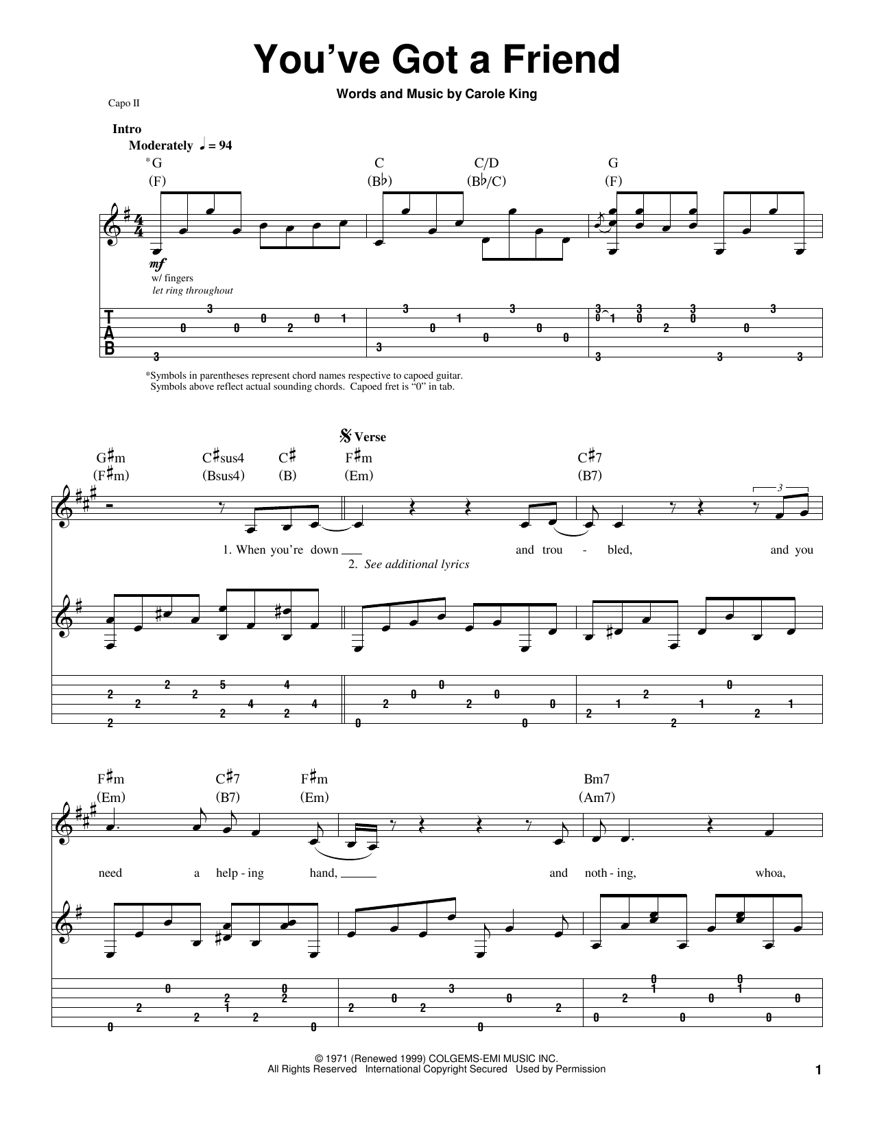 James Taylor 'You've Got A Friend' Sheet Music and Printable PDF ...