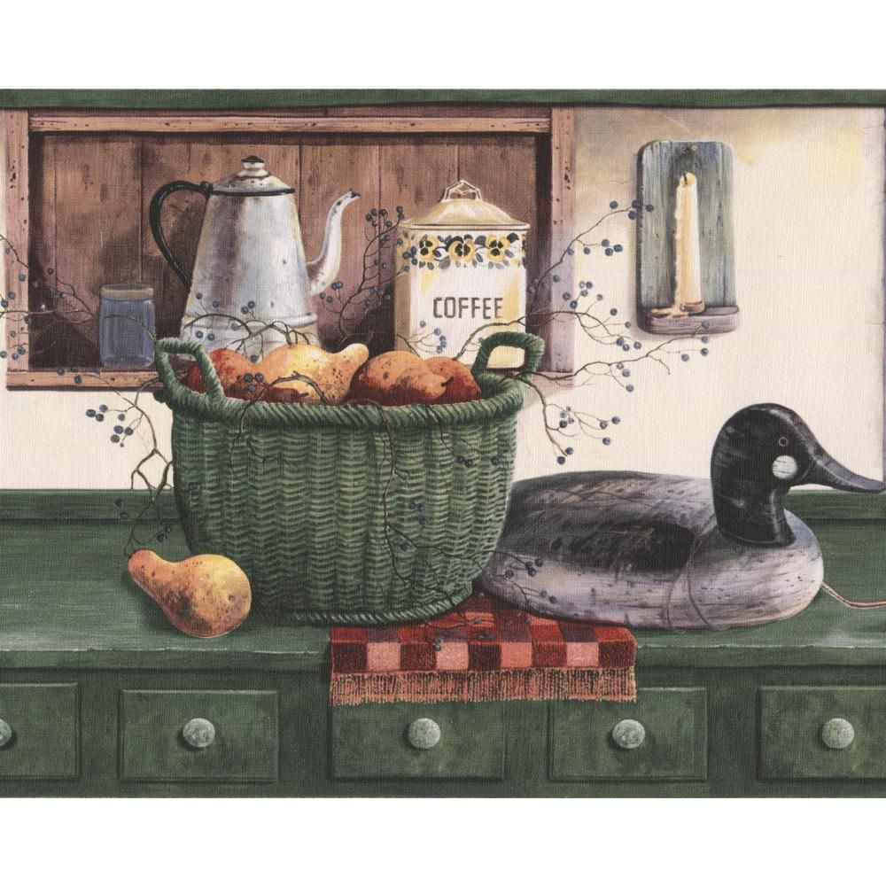 Norwall Green Kitchen Table Swans Fruit Basket Pantry