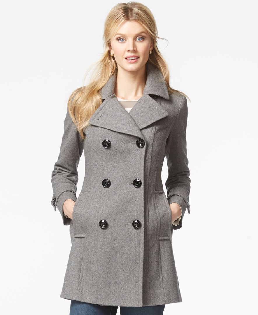 Anne Klein Double-Breasted Long Peacoat - Coats - Women - Macy's