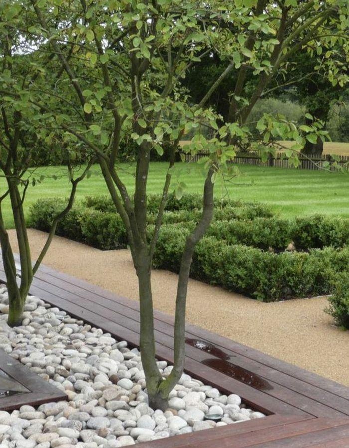Zwei Bäumen In Beeten Mit Weißen Steinen Angelegt Und Eine Sitzbank Moderne  Vorgärten