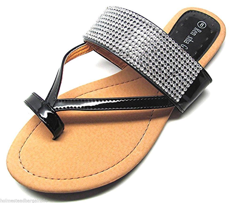 410ca282e Women s Crystal Rhinestone Black Toe Ring T Strap Flat Sandals Size US 6 -  11