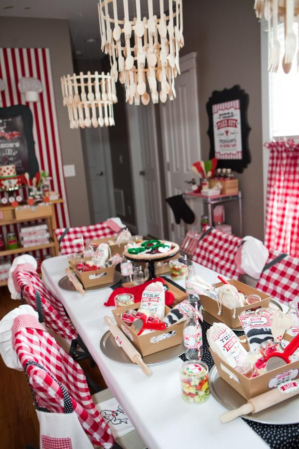 Pizzeria little chef themed pizza party via kara 39 s for Chef themed kitchen ideas