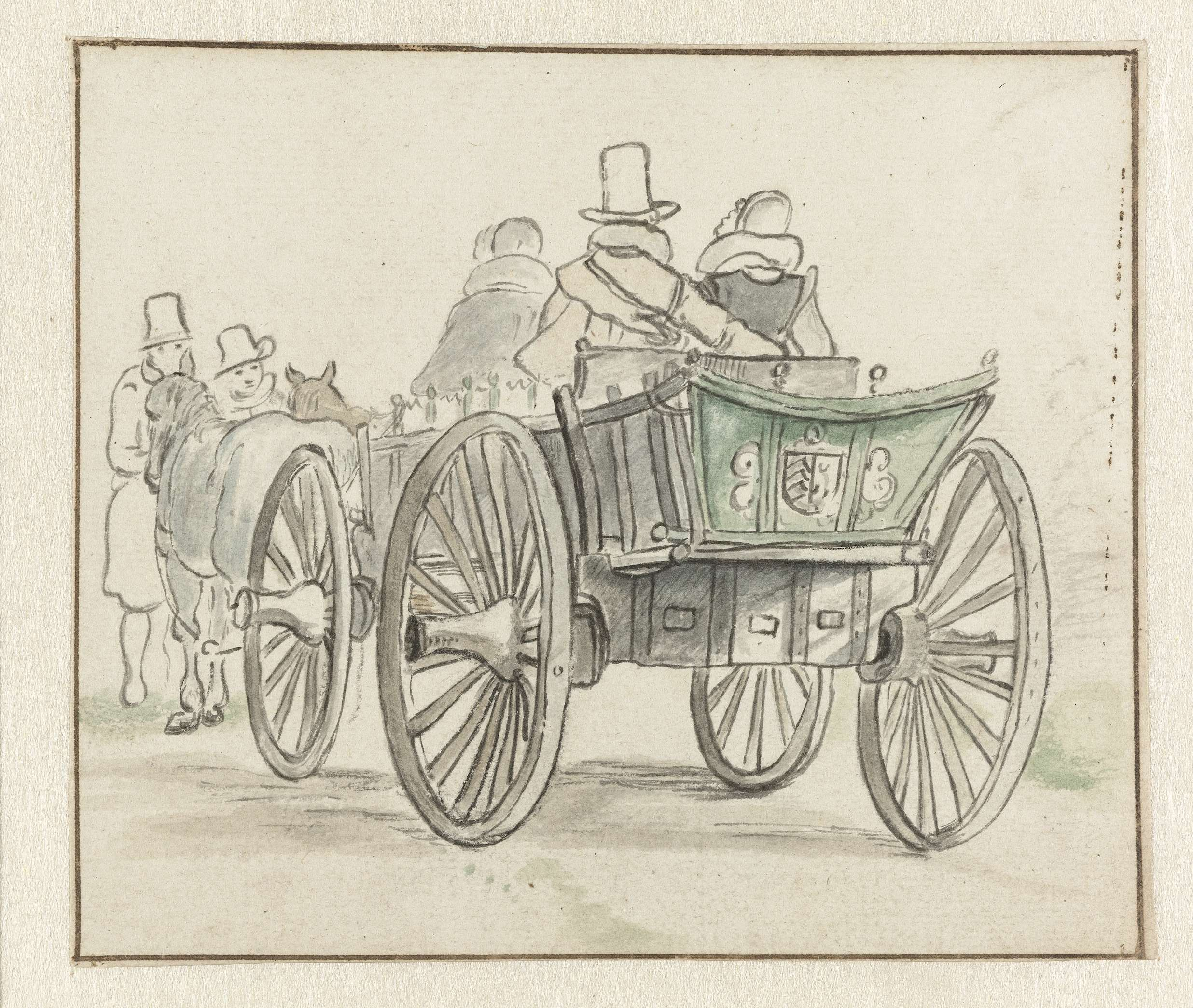 Hendrick Avercamp | Reiswagen met enkele passagiers, Hendrick Avercamp, 1600 - 1684 |