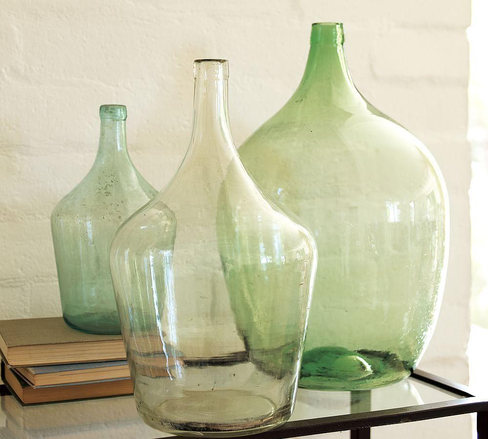 Vintage Glass Wine Bottle Vases In 2020 Wine Bottle Vases