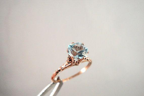 AQUAMARINE Ring 14k ROSE GOLD Snowflake Cut 1.5ct by TnBCdesigns