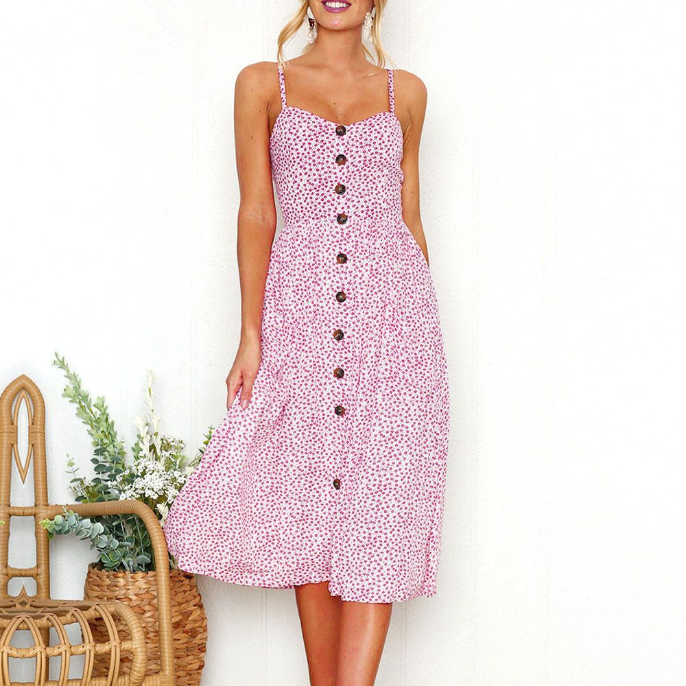 91b529d06c Hot Women Holiday Strappy Button Pocket Ladies Summer Beach Midi Swing Sun  Dress