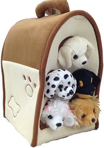 Plush Dog House Five 5 Stuffed Animal Dogs Dalmation Yellow