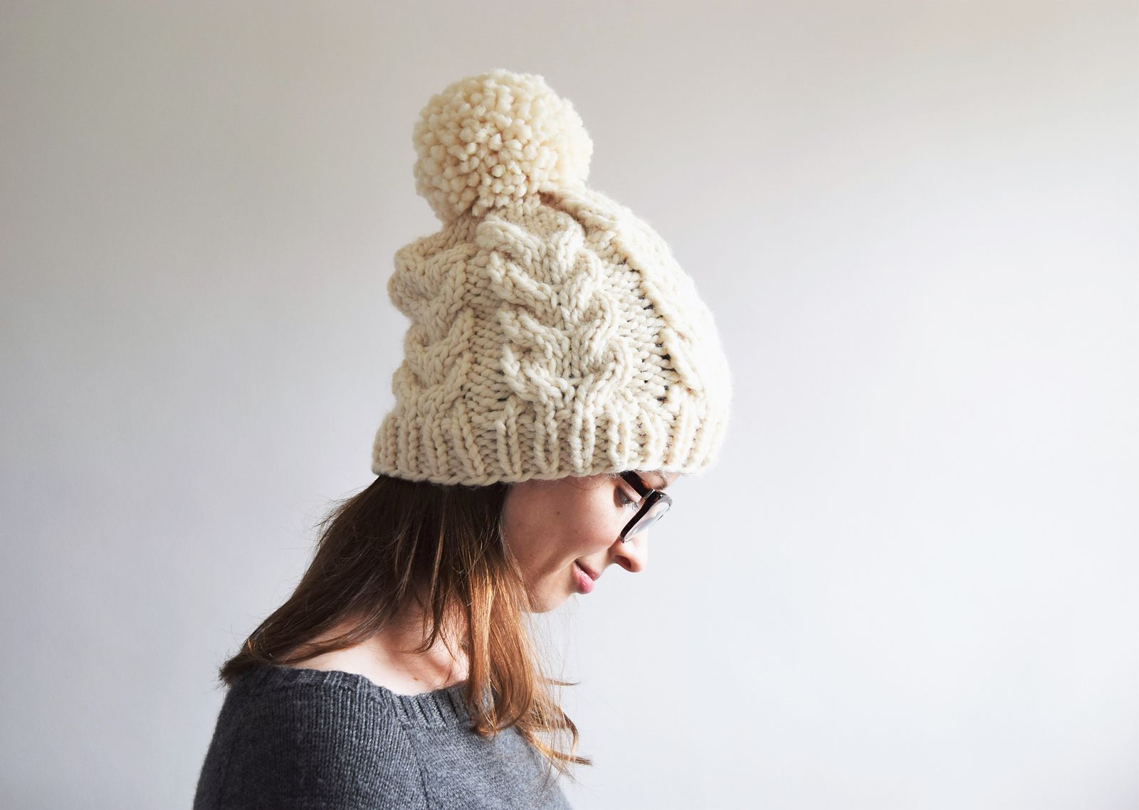 PRINTED INSTRUCTIONS CHUNKY UNISEX BIG BOBBLE DOUBLE MOSS STITCH BEANIE