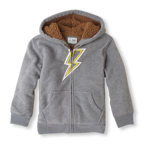 lightening bolt zip-up sherpa hoodie