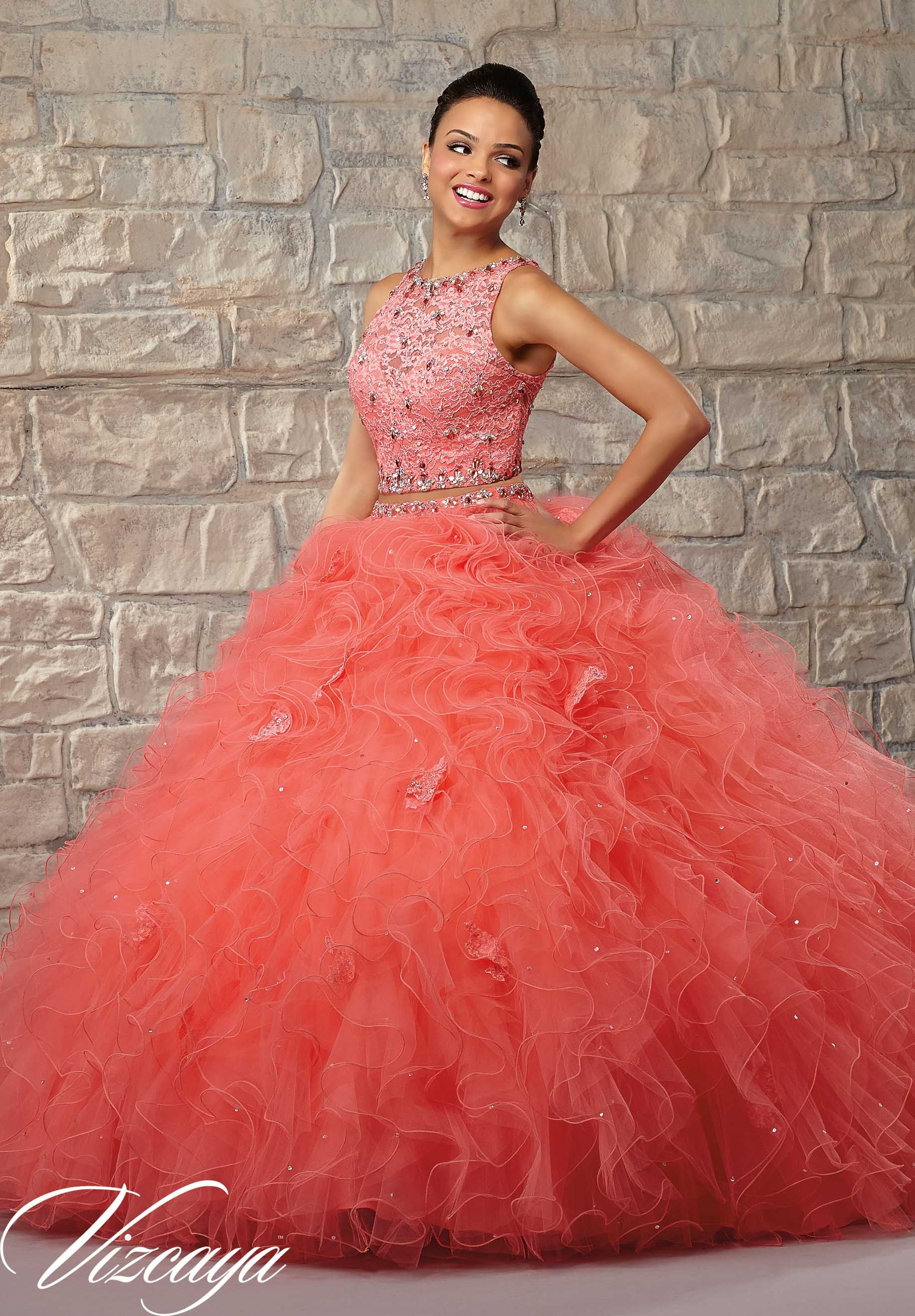 4b0c4e24a8c Quinceanera dresses by Vizcaya Two-Piece Ruffled Tulle Skirt with Lace  Bodice and Beading. Matching Stole. Available in Coral