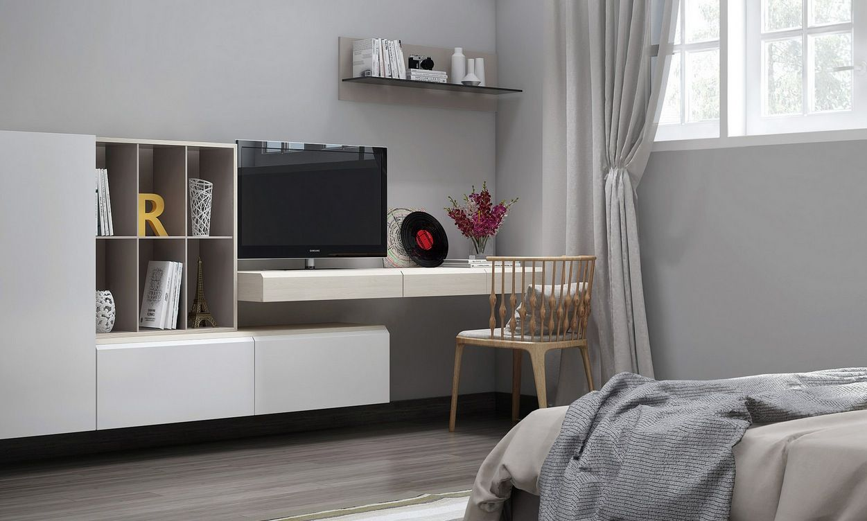 Minimalist Home Bedroom Interior Featured With Tv Unit Displayed On Floating Desk For Studying Wooden Chair