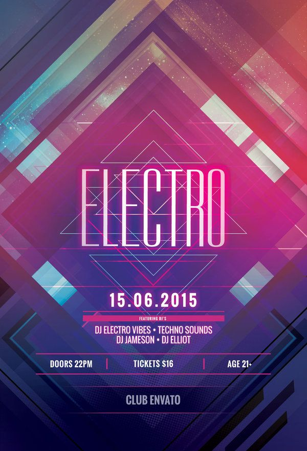 Electro Flyer by styleWish (Buy PSD file - $9) #design #poster