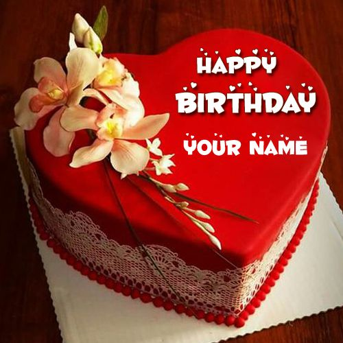 Love Cake Images With Name Editor : Happy Birthday Red Heart Love Cake Pic With Your Name ...