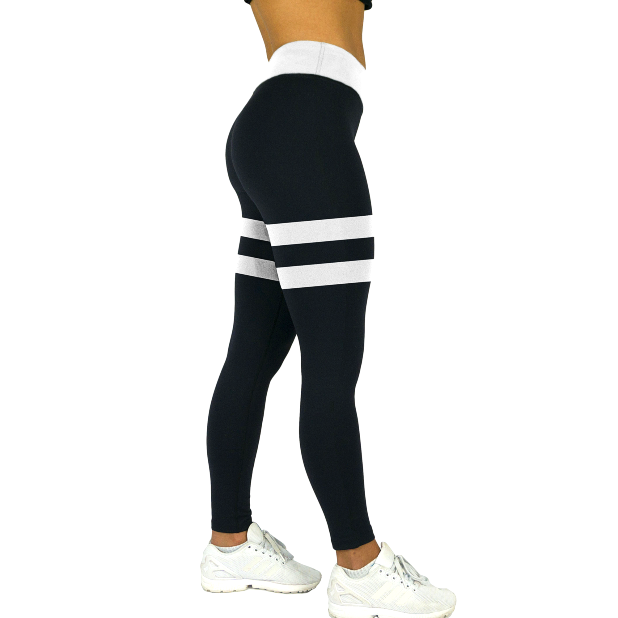 a08fe34fde094f Black and White Striped Thigh High-Waist Yoga Leggings. Fitness is a way of  life. #fitnessgirls #gymlife