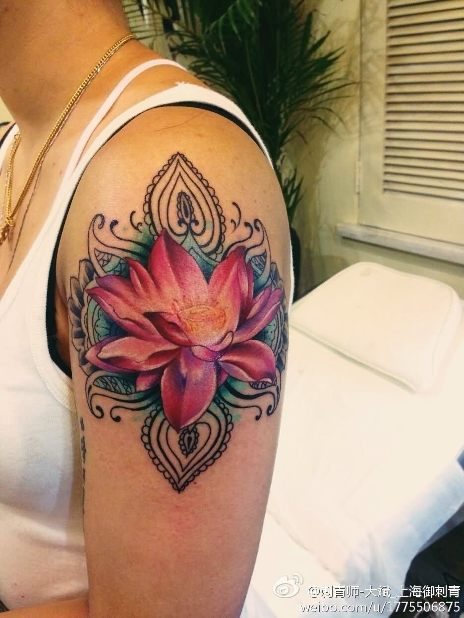 Pink Ink Lotus Tattoo On Girl Left Shoulder Tattoos Pinterest