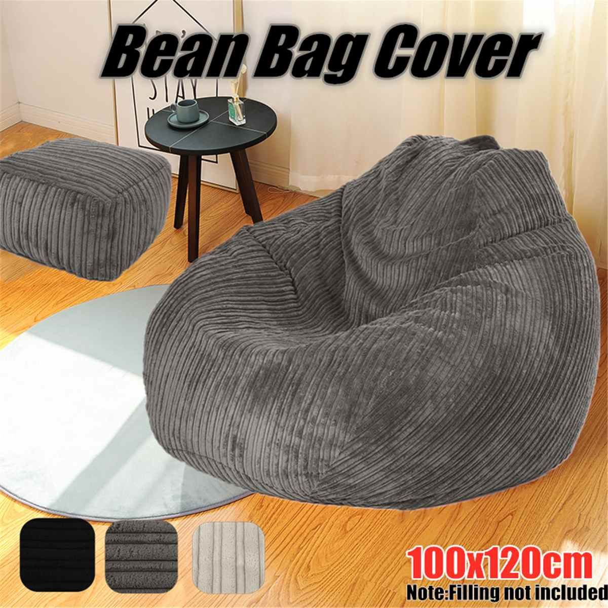 No Filler Bean Bag Chair Lazy Sofa Soft Corduroy Bean Bag Cover Large Lazy Lounger High Back Bean Bag Chair for Adults and Kids