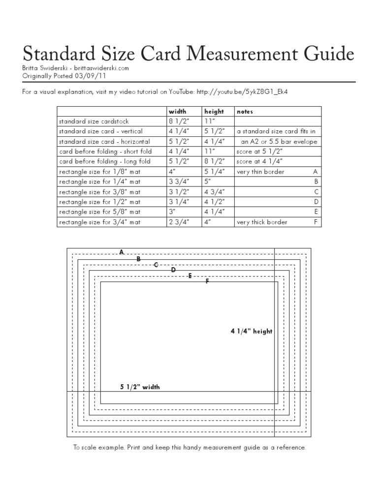 Standard Size Card Amp Mat Measurement Guide Cards Sizes
