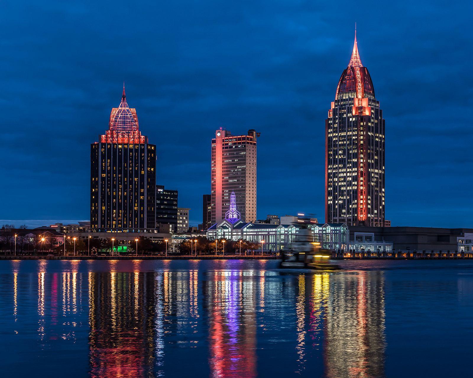 Alabama Car Tags >> Mobile Skyline w Tug in 2019 | Mobile, Alabama | Mobile ...