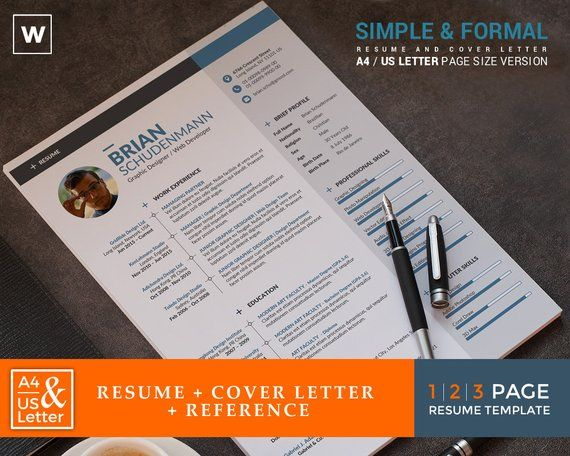 2 page formal cv resume template professional word resume template